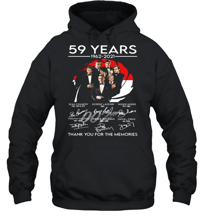 007 59 years 1962 2021 thank you for the memories signatures shirt Unisex Hoodie