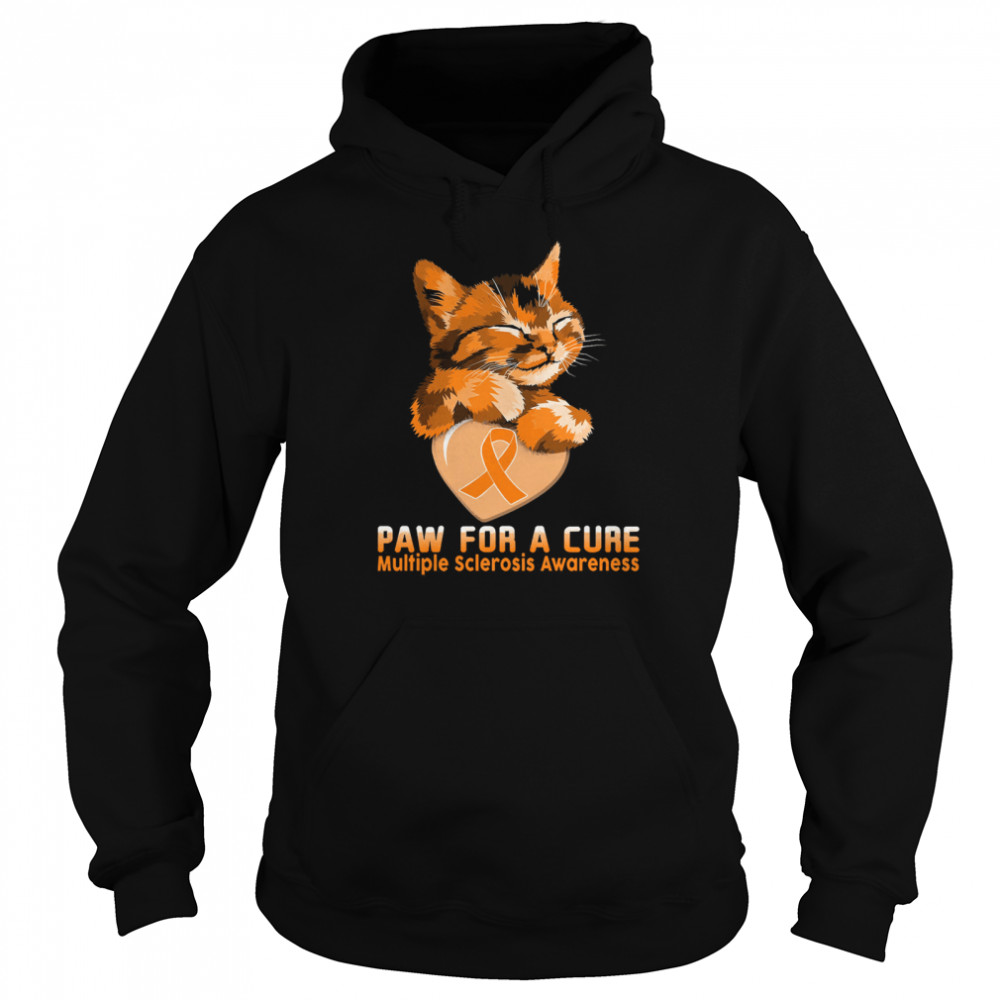 Cat paw for a cure multiple sclerosis awareness shirt Unisex Hoodie