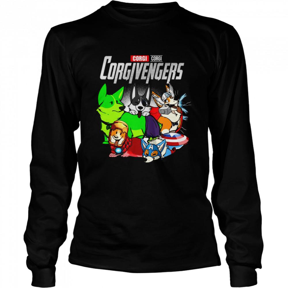 Good Marvel Avenger Corgi Corgi Corgivengers T-shirt Long Sleeved T-shirt