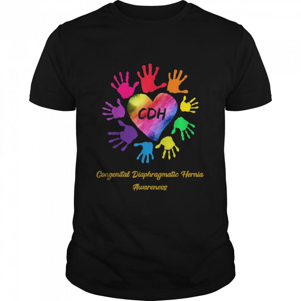 We Wear Rainbow Heart For Congenital Diaphragmatic Hernia shirt Classic Men's T-shirt