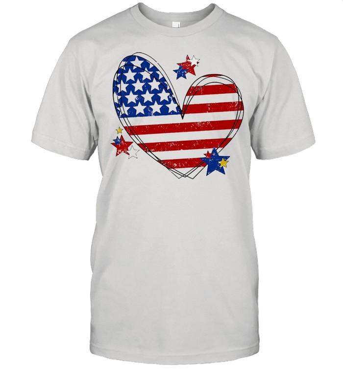 American flag heart matching family july 4th shirt Classic Men's T-shirt