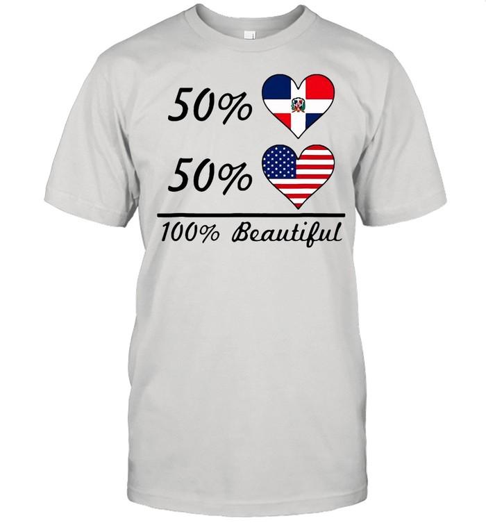 50 Dominican Republic Flag 50 American Flag 100 Beautiful T-shirt Classic Men's T-shirt