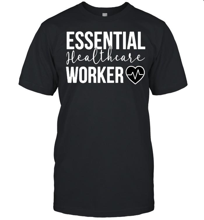 Essential Healthcare Worker Heartbeat Nurse Nursing  Classic Men's T-shirt