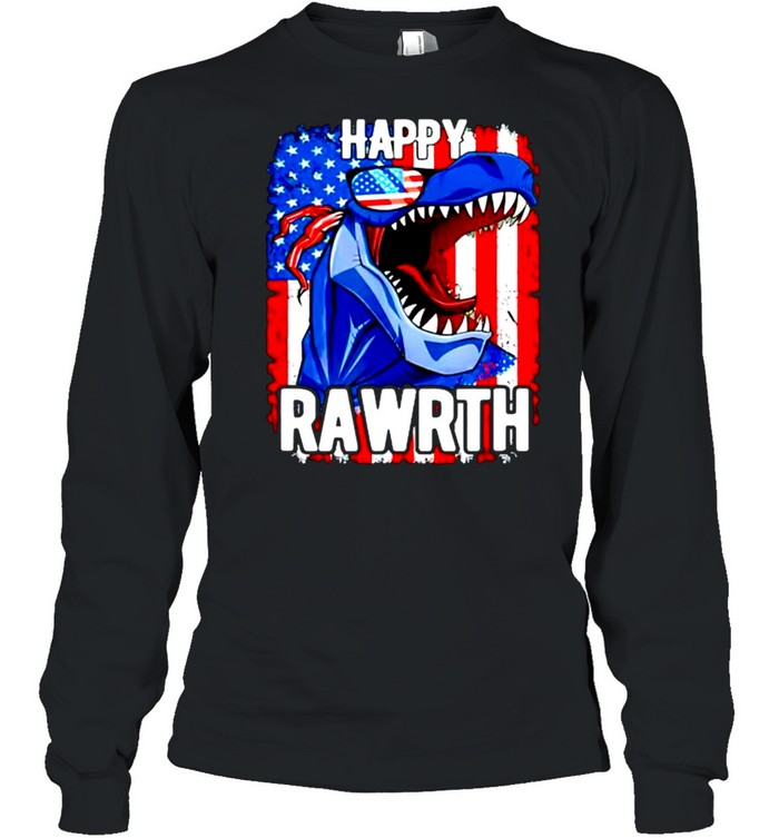 T rex happy rawrth 4th of july shirt Long Sleeved T-shirt