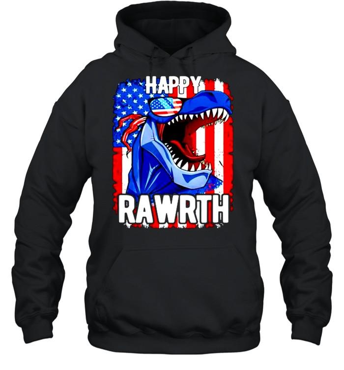 T rex happy rawrth 4th of july shirt Unisex Hoodie