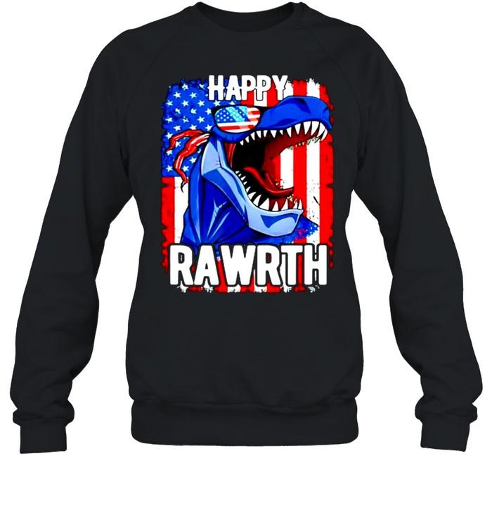 T rex happy rawrth 4th of july shirt Unisex Sweatshirt
