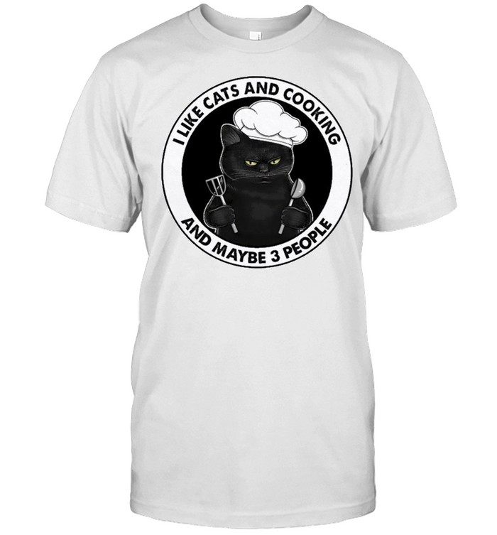 Black cat I like cats and cooking and maybe 3 people shirt Classic Men's T-shirt