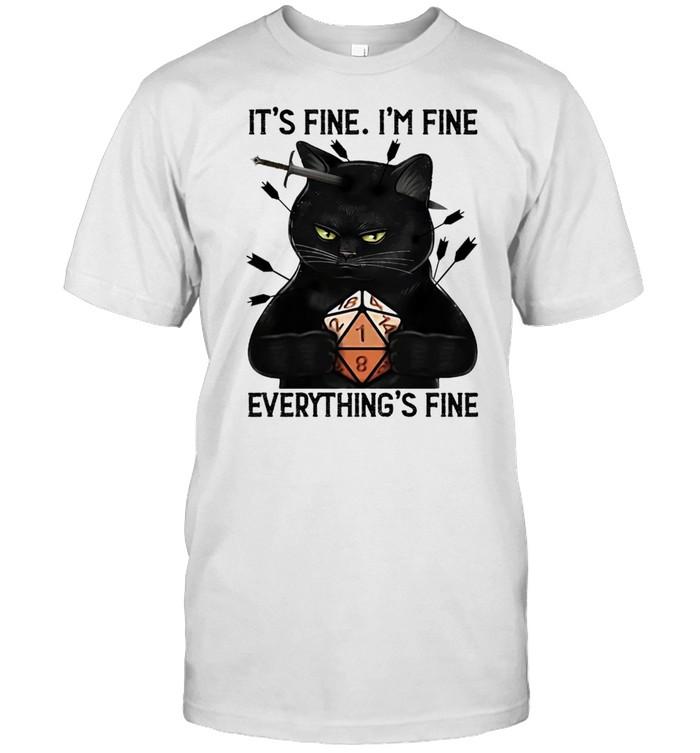 Black Cat Dungeon Its Fine Im Fine Everythings Fine shirt Classic Men's T-shirt