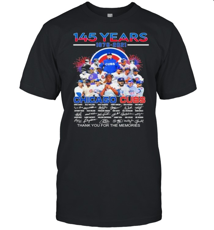 145 years 1876 2021 chicago cubs thank you for the memories signature shirt Classic Men's T-shirt