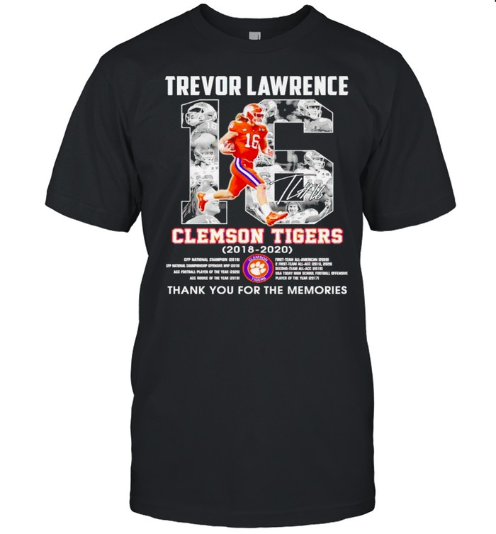 Trevor Lawrence #16 Clemson Tigers 2018 2020 thank you for the memories shirt Classic Men's T-shirt
