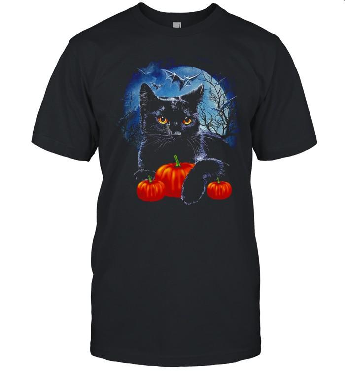 Black Cat moon light pumpkin shirt Classic Men's T-shirt