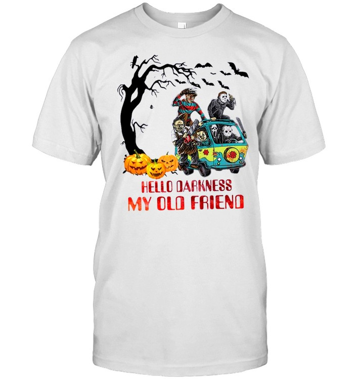 Horror Movie Characters On Scooby Doo Car Hello Darkness My Old Friends  Classic Men's T-shirt