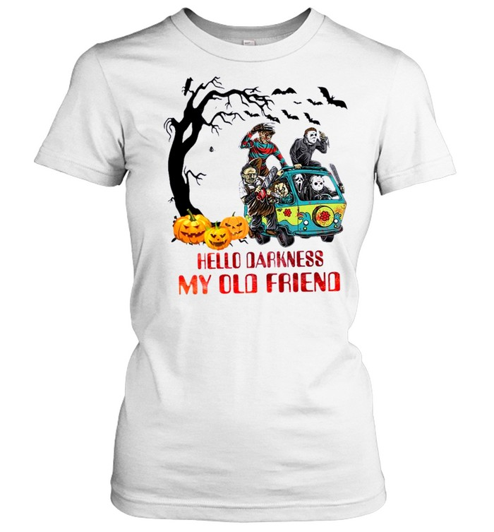 Horror Movie Characters On Scooby Doo Car Hello Darkness My Old Friends Classic Women's T-shirt