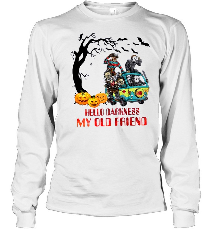 Horror Movie Characters On Scooby Doo Car Hello Darkness My Old Friends Long Sleeved T-shirt