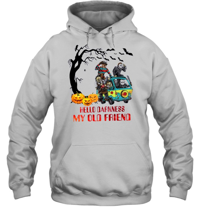 Horror Movie Characters On Scooby Doo Car Hello Darkness My Old Friends Unisex Hoodie