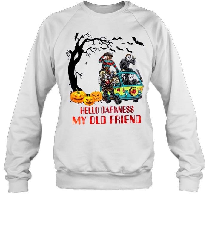 Horror Movie Characters On Scooby Doo Car Hello Darkness My Old Friends Unisex Sweatshirt