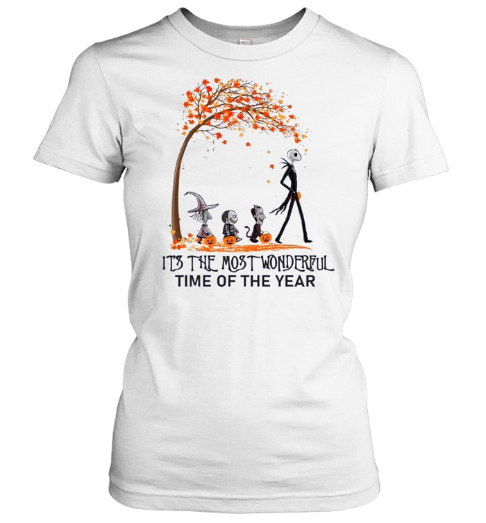 Jack Skellington Maple Leaves Tree It's The Most Wonderful Time Of The Year Classic Women's T-shirt