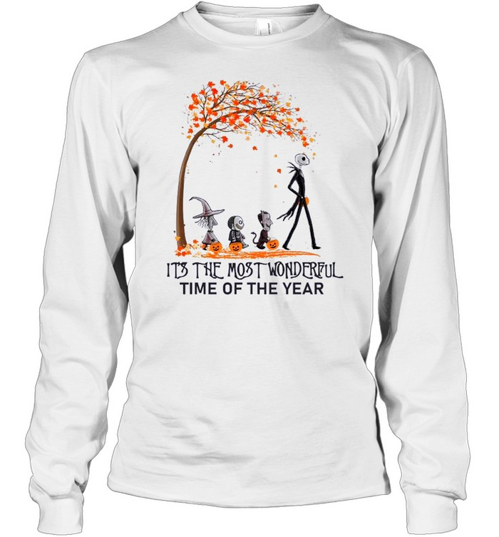 Jack Skellington Maple Leaves Tree It's The Most Wonderful Time Of The Year Long Sleeved T-shirt