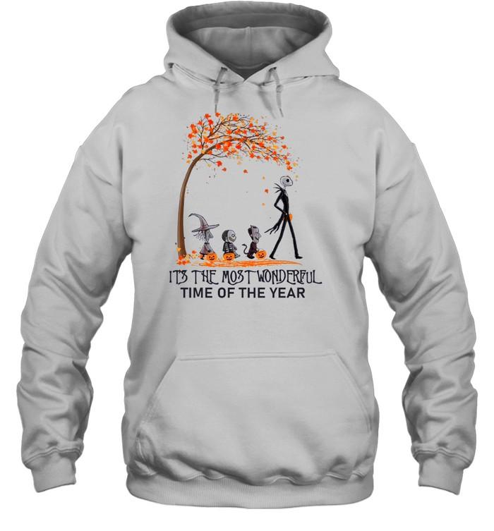 Jack Skellington Maple Leaves Tree It's The Most Wonderful Time Of The Year Unisex Hoodie