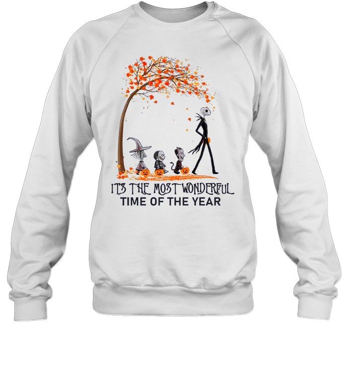 Jack Skellington Maple Leaves Tree It's The Most Wonderful Time Of The Year Unisex Sweatshirt