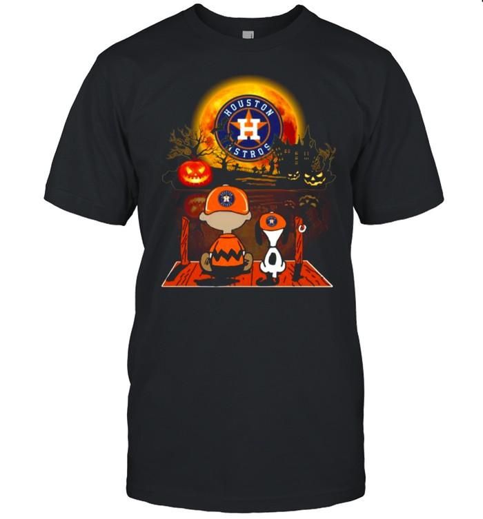 Snoopy and Charlie Brown Pumpkin Houston Astros Halloween Moon shirt Classic Men's T-shirt