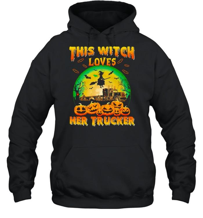 This witch loves her trucker Halloween shirt Unisex Hoodie
