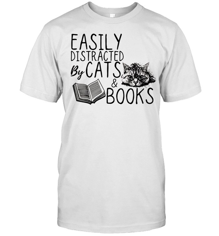 Cat Easily distracted by cats and books Cat shirt Classic Men's T-shirt