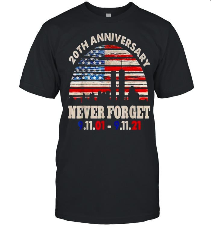 Never Forget 911 20th Anniversary Patriot Day American Flag shirt Classic Men's T-shirt