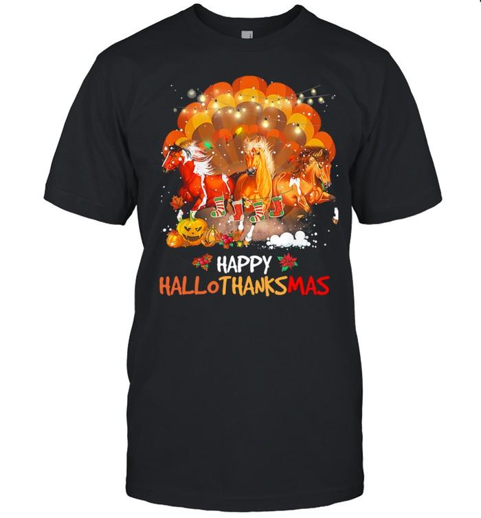 Three Horses Happy Hallothanksmas Merry Christmas shirt Classic Men's T-shirt