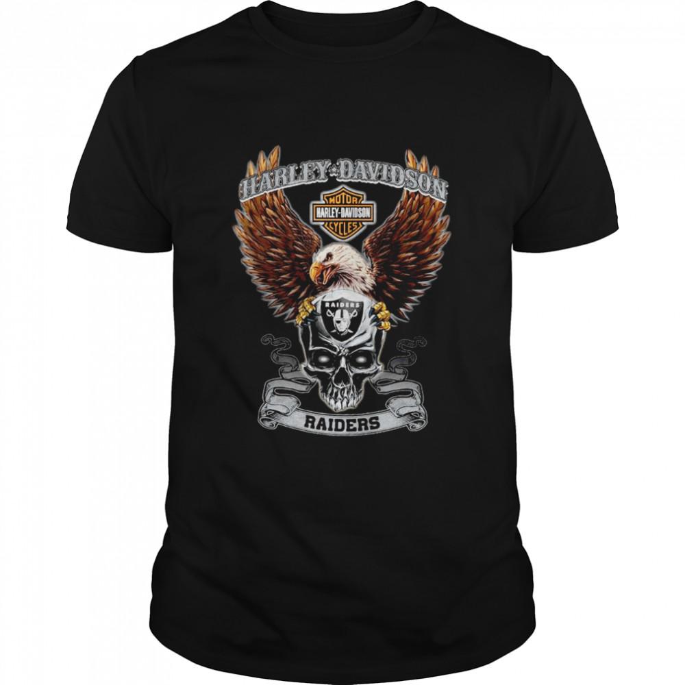 Eagle Skull Harley-Davidson Oakland Raiders shirt Classic Men's T-shirt