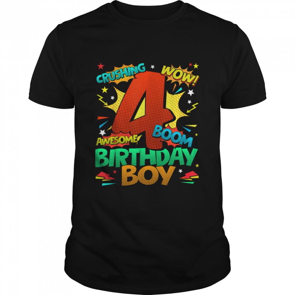 4th Birthday Kids Comic Style Kids Boys 4th Birthday shirt Classic Men's T-shirt