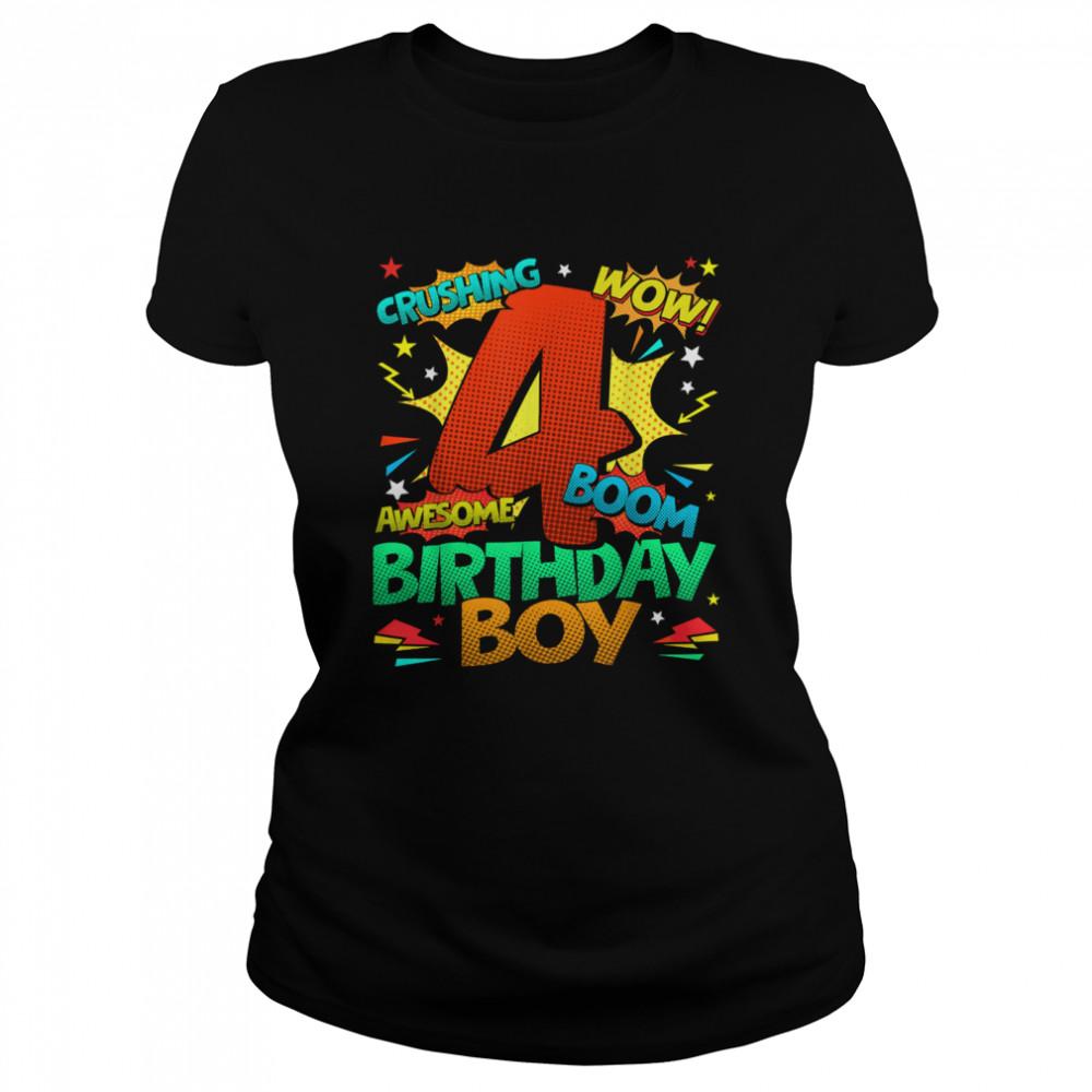 4th Birthday Kids Comic Style Kids Boys 4th Birthday shirt Classic Women's T-shirt