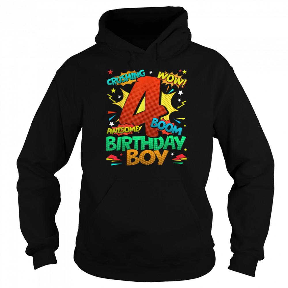 4th Birthday Kids Comic Style Kids Boys 4th Birthday shirt Unisex Hoodie