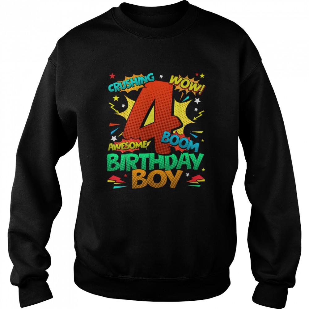 4th Birthday Kids Comic Style Kids Boys 4th Birthday shirt Unisex Sweatshirt