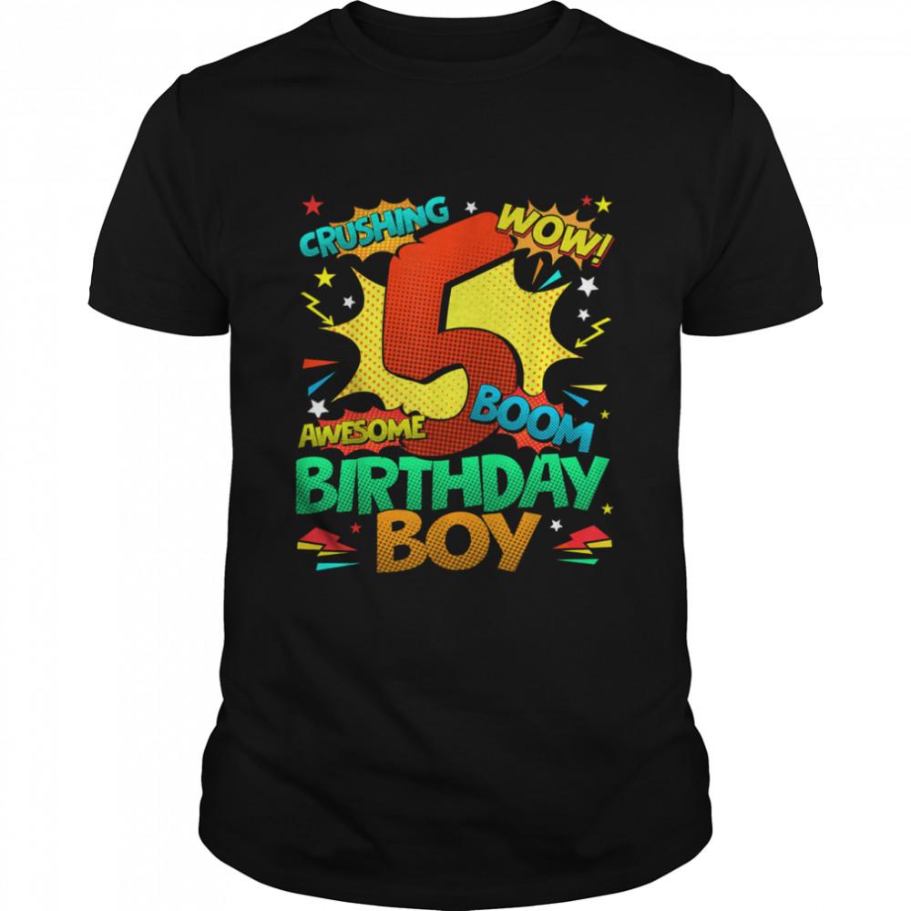 5th Birthday Kids Comic Style Kids Boys 5th Birthday shirt Classic Men's T-shirt