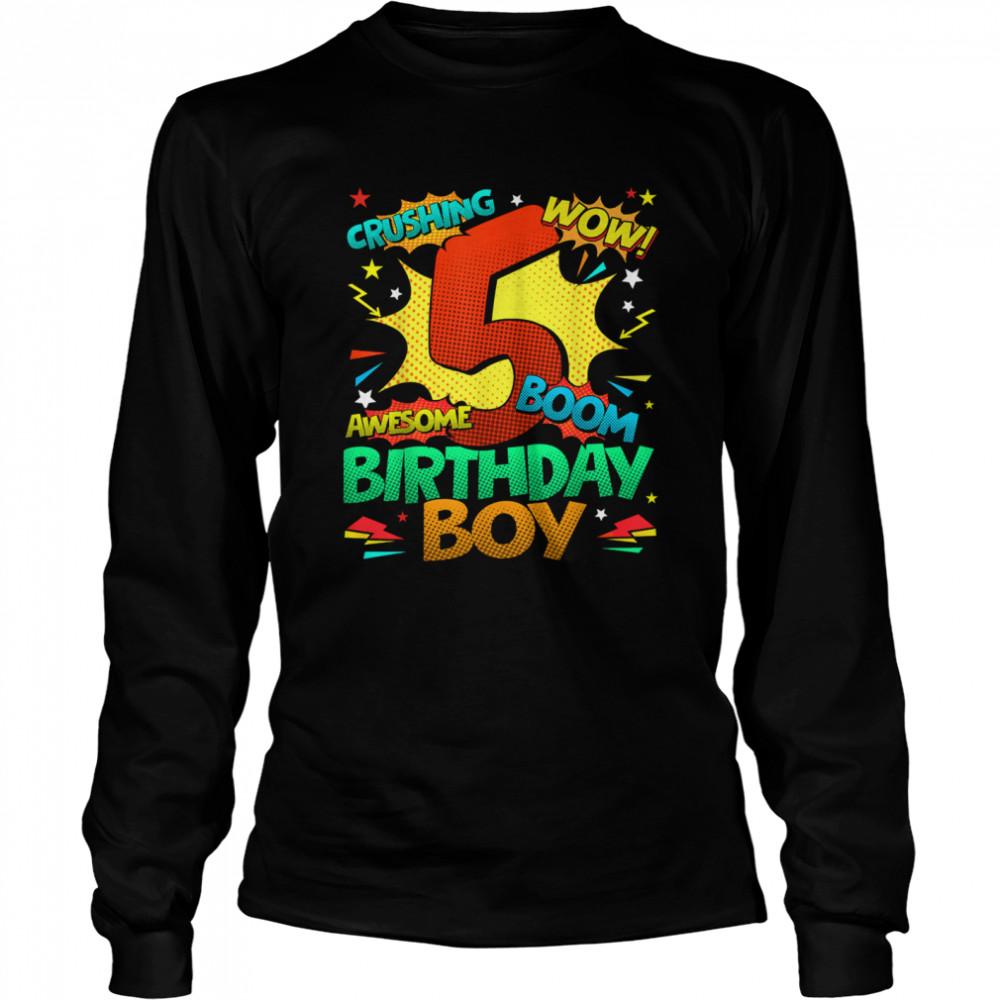 5th Birthday Kids Comic Style Kids Boys 5th Birthday shirt Long Sleeved T-shirt