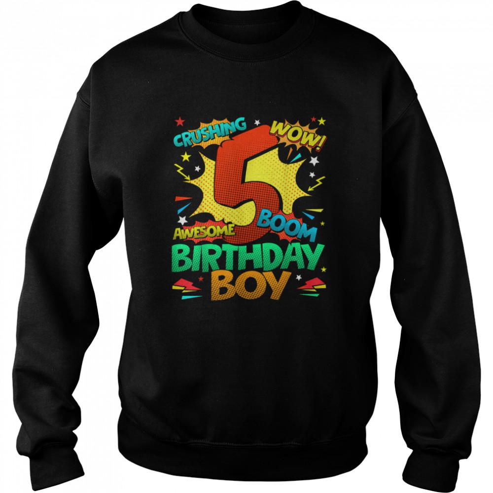 5th Birthday Kids Comic Style Kids Boys 5th Birthday shirt Unisex Sweatshirt