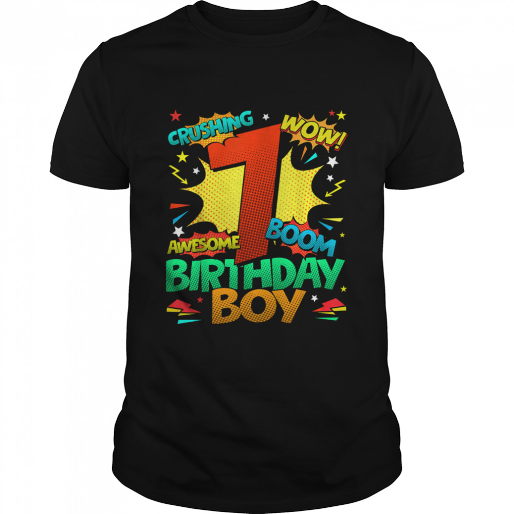 7th Birthday Kids Comic Style Kids Boys 7th Birthday shirt Classic Men's T-shirt