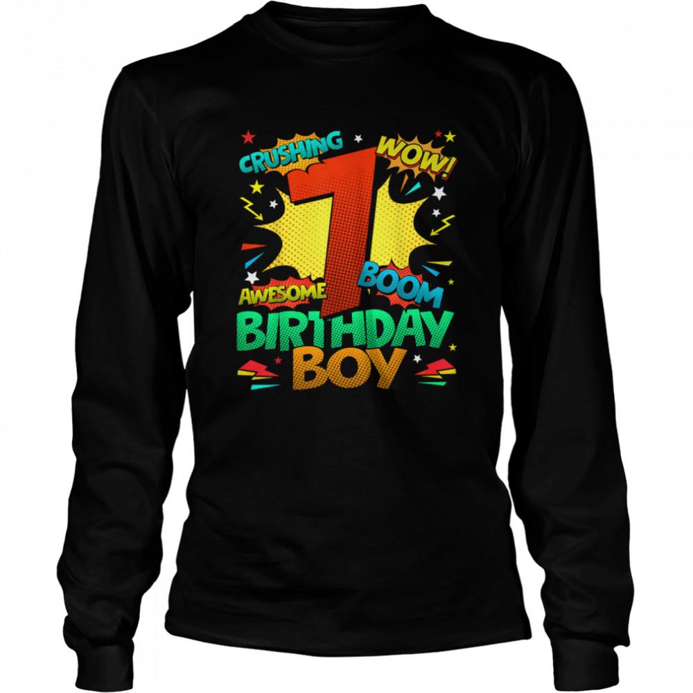 7th Birthday Kids Comic Style Kids Boys 7th Birthday shirt Long Sleeved T-shirt
