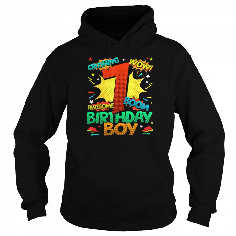 7th Birthday Kids Comic Style Kids Boys 7th Birthday shirt Unisex Hoodie