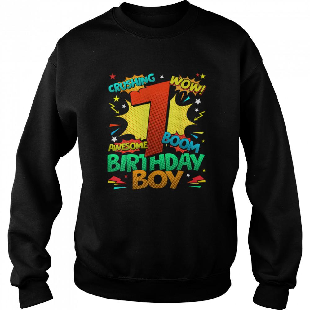 7th Birthday Kids Comic Style Kids Boys 7th Birthday shirt Unisex Sweatshirt